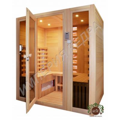 Четырехместная сауна с керамическими нагревателями и стеклянными фасадами
