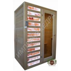 Двухместная ИК сауна (керамика) с панелями из Гималайской розовой соли в 12 рядов по фасаду