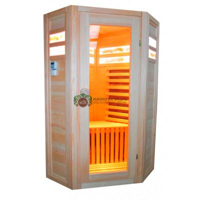 Одноместная угловая ИК-кабина с соляными панелями в два ряда (карбон)