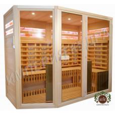 Шестиместная сауна с керамическими нагревателями, стеклянными фасадами и соляными панелями в 2 ряда по периметру